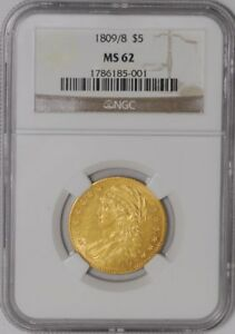 1809/8 $5 GOLD CAPPED BUST 938552 7 MS62 NGC