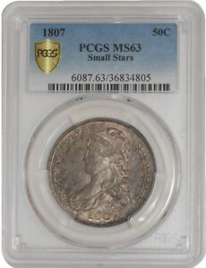 Click now to see the BUY IT NOW Price! 1807 CAPPED BUST HALF 50C SM STARS O 113A R.3 939244 2 MS63 SECURE PLUS PCGS