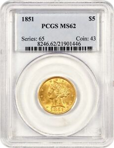 Click now to see the BUY IT NOW Price! 1851 $5 PCGS MS62   PRETTY NO MOTTO HALF EAGLE   LIBERTY HALF EAGLE   GOLD COIN