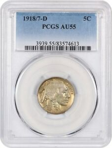 Click now to see the BUY IT NOW Price! 1918/7 D 5C PCGS AU55    OVERDATE   BUFFALO NICKEL    OVERDATE