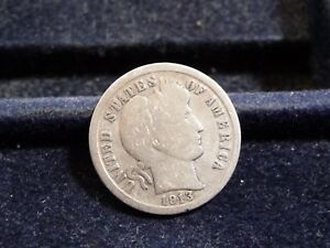 1913 BARBER SILVER DIME IN GOOD CONDITION  J 18 18