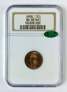 1908 INDIAN HEAD CENT 1 NGC MS 65 RB  RED BROWN  CAC