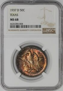 Click now to see the BUY IT NOW Price! 1937 D TEXAS 50C $938535 1 MS68 COLOR NGC