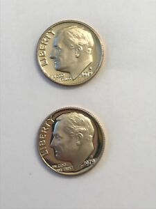 LOT OF 2  1979 S TYPE 1  FILLED S  & TYPE 2  CLEAR S  PROOF ROOSEVELT DIMES