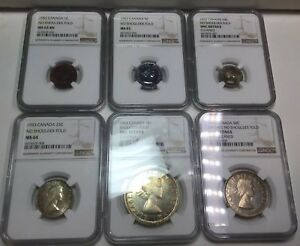 Click now to see the BUY IT NOW Price! 1953 UNCIRCULATED CANADA MINT SET COINS BEAUTIFUL TONING  NGC