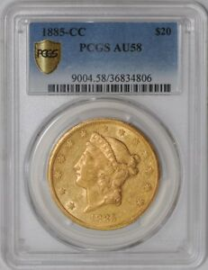 Click now to see the BUY IT NOW Price! 1885 CC $20 GOLD LIBERTY 938200 4 AU58 SECURE PLUS PCGS