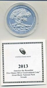 AMERICA THE BEAUTIFUL 5 OUNCE SILVER UNCIRCULATED COIN   GREAT BASIN