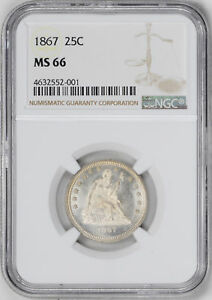 Click now to see the BUY IT NOW Price! 1867 LIBERTY SEATED 25C NGC MS 66