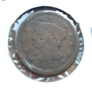 1853 BRAIDED LARGE HAIR CENT PRE CIVIL WAR NICE