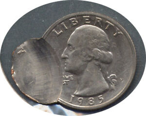 1985 P QUARTER DOUBLE STRUCK ERROR   CH BU