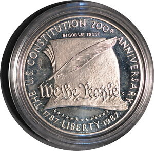 1987 CONSTITUTION PROOF SILVER DOLLAR WITH ORIGINAL PACKAGING.