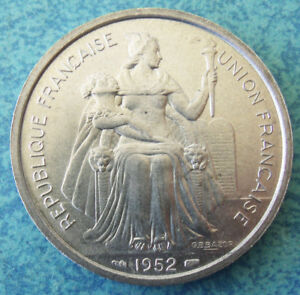 UNC. 1952 FRENCH COLONY OF NEW CALDONIA   5 FRANCS