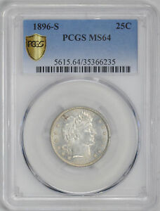 Click now to see the BUY IT NOW Price! 1896 S BARBER 25C PCGS MS 64