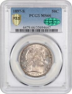 Click now to see the BUY IT NOW Price! 1897 S 50C PCGS/CAC MS66   TOUGH DATE   BARBER HALF DOLLAR   TOUGH DATE