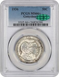 Click now to see the BUY IT NOW Price! 1936 GETTYSBURG 50C PCGS/CAC MS66  SILVER CLASSIC COMMEMORATIVE