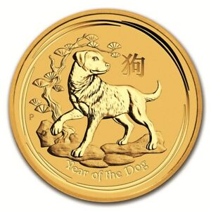 AUSTRALIAN PERTH MINT SERIES II LUNAR GOLD ONE TWENTIETH OUNCE 2018 DOG
