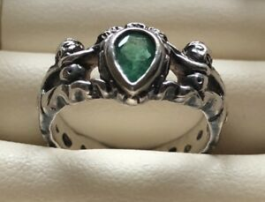 CROWN RING MEL FISHER ATOCHA SHIPWRECK STERLING SILVER EMERALD 1622 SIZE 7