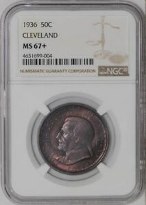 Click now to see the BUY IT NOW Price! 1936 CLEVELAND 50C 939299 1 MS67  COLOR NGC