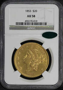 1853 LIBERTY HEAD GOLD $20 DOUBLE EAGLE TYPE 1 NGC AU 58 CAC  123236
