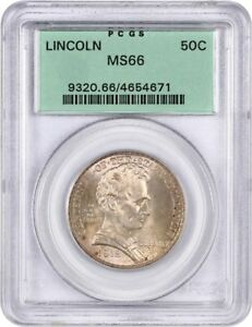 Click now to see the BUY IT NOW Price! 1918 LINCOLN ILLINOIS 50C PCGS MS66  OGH  OLD GREEN LABEL HOLDER