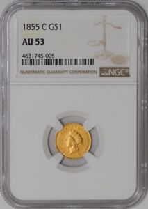 Click now to see the BUY IT NOW Price! 1855 C $ GOLD INDIAN DOLLAR 939550 2 AU53 NGC