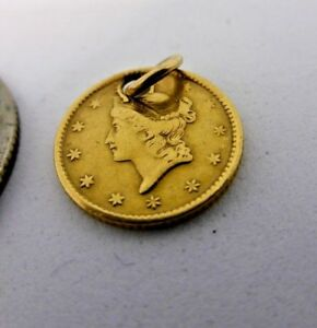 1851 GOLD DOLLAR OLD COIN UNITED STATES WITH HOLE AND LOOP FOR NECKLACE CHARM