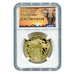 Click now to see the BUY IT NOW Price! CERTIFIED TANZANIAN 1 OZ GOLD SERENGETI ELEPHANT 2015 PF70 ULTRA CAMEO NGC