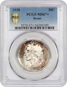 1938 BOONE 50C PCGS MS67    LOW MINTAGE ISSUE   SILVER CLASSIC COMMEMORATIVE