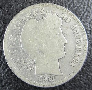 1911 D BARBER DIME 90  SILVER