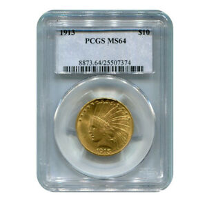 CERTIFIED US GOLD $10 INDIAN 1913 MS64 PCGS