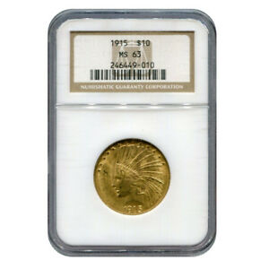 CERTIFIED US GOLD $10 INDIAN 1915 MS63 NGC