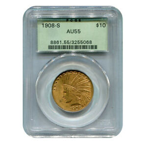 CERTIFIED US GOLD $10 INDIAN 1908 S AU55 PCGS