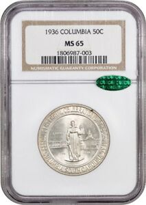 1936 COLUMBIA 50C NGC/CAC MS65   LOW MINTAGE ISSUE   LOW MINTAGE ISSUE