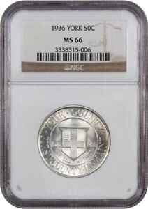 1936 YORK 50C NGC MS66   SILVER CLASSIC COMMEMORATIVE