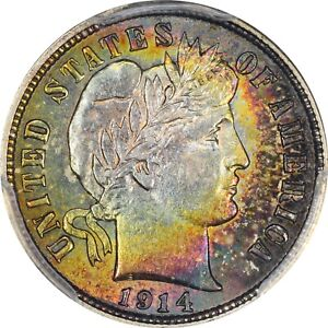 Click now to see the BUY IT NOW Price! 1914 D PCGS MS 62 CAC BARBER DIME   APPEARANCE RARITY   COLOR TONING