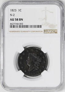 Click now to see the BUY IT NOW Price! 1823 CORONET HEAD 1C NGC AU 58 BN