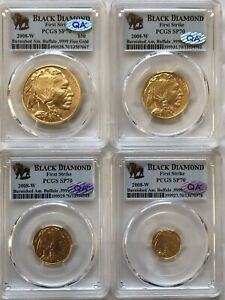 Click now to see the BUY IT NOW Price! 2008 W GOLD BUFFALO PCGS MS70 FIRST STRIKE BLACK DIAMOND 4 COIN SET QA CHECKED