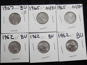 NICE SET OF 6 FIVE CENT PIECES FROM CANADA