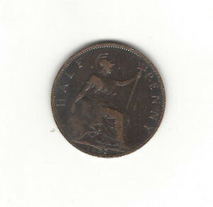 25. GREAT BRITAIN 1897 HALF PENNY VICTORIA   DIE BREAK ERROR NEAR DATE
