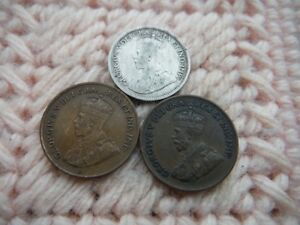 CANADA 1917 SILVER 10 CENTS 1920 1932 CENT NICE LOT OF 3