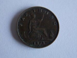 GREAT BRITAIN UK 1874  FARTHING COIN D45