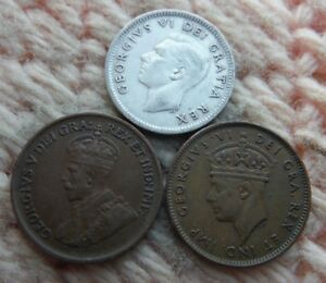 CANADA NEWFOUNDLAND CENT 1936 1943 SILVER 10 CENTS 1952 LOT OF 3