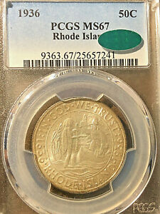 Click now to see the BUY IT NOW Price! 1936 RHODE ISLAND PCGS 67     CAC    ORIGINAL AND GREAT SATINY LUSTER