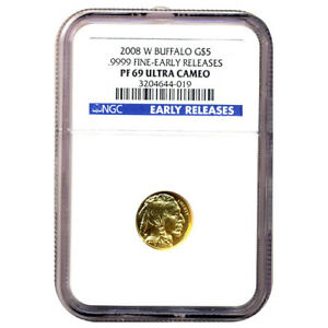 CERTIFIED PROOF BUFFALO GOLD COIN 2008 W TENTH OUNCE PF69 EARLY RELEASE