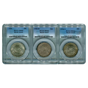Click now to see the BUY IT NOW Price! CERTIFIED COMMEMORATIVE HALF DOLLAR SET RHODE ISLAND 1936 MS66 PCGS  3 PIECES