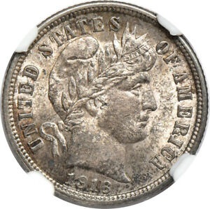 1916 BARBER DIME MS / MINT STATE 62 NGC 10C C37566