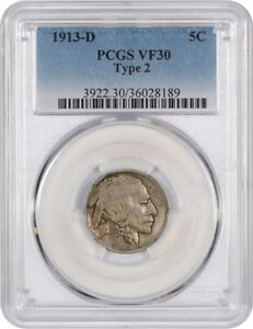 1913 D 5C PCGS VF30  TYPE 2  BUFFALO NICKEL