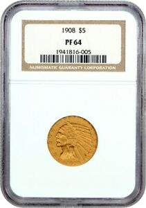Click now to see the BUY IT NOW Price! 1908 $5 NGC PR 64   SILKY BRONZE PROOF    INDIAN HALF EAGLE   GOLD COIN