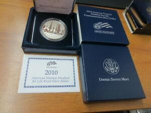 2010 US MINT DISABLED AMERICAN VETERANS PROOF COMMEMORATIVE SILVER DOLLAR W/ BOX