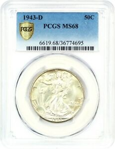Click now to see the BUY IT NOW Price! 1943 D 50C PCGS MS68   WALKING LIBERTY HALF DOLLAR